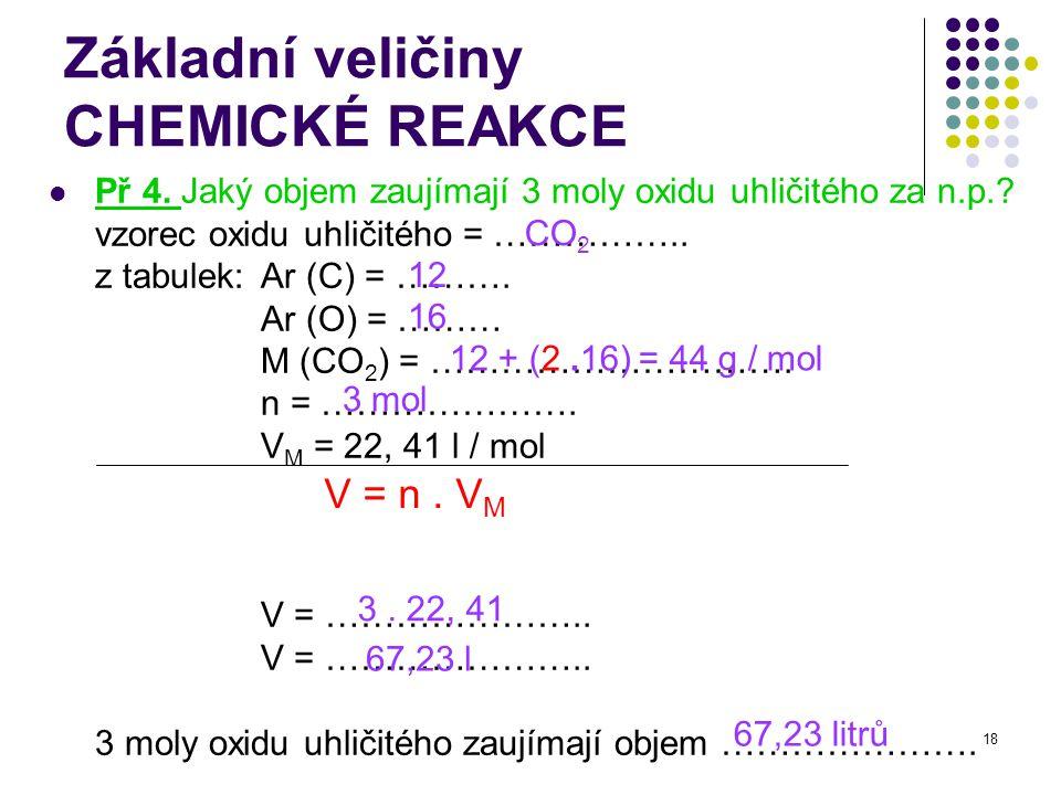 18 Základní veličiny CHEMICKÉ REAKCE Př 4. Jaký objem zaujímají 3 moly oxidu uhličitého za n.p.? vzorec oxidu uhličitého = …………….. z tabulek: Ar (C) =