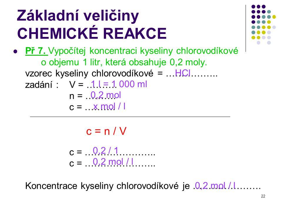22 Základní veličiny CHEMICKÉ REAKCE Př 7. Vypočítej koncentraci kyseliny chlorovodíkové o objemu 1 litr, která obsahuje 0,2 moly. vzorec kyseliny chl