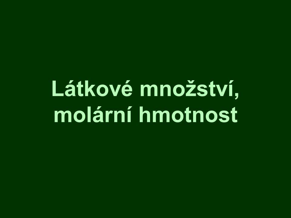 Látkové množství, molární hmotnost