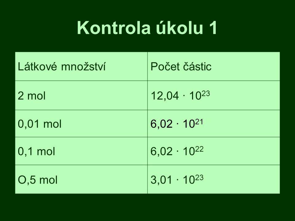 Kontrola úkolu 1 Látkové množstvíPočet částic 2 mol12,04 · 10 23 0,01 mol6,02 · 10 21 0,1 mol6,02 · 10 22 O,5 mol3,01 · 10 23