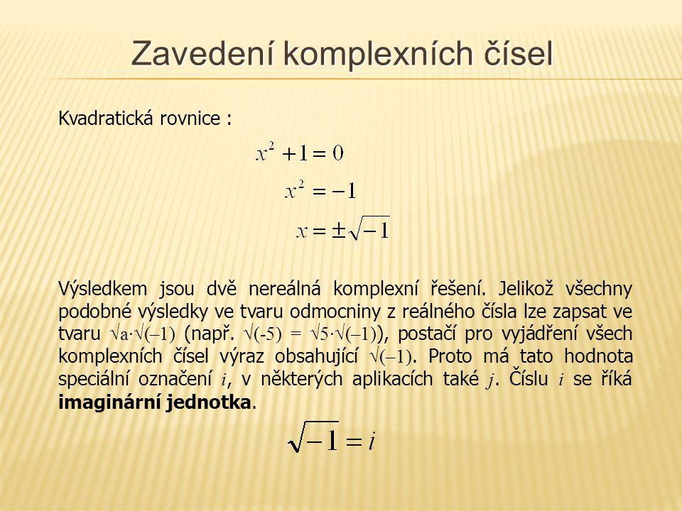 Zavedení komplexních čísel Kvadratická rovnice : Výsledkem jsou dvě nereálná komplexní řešení.