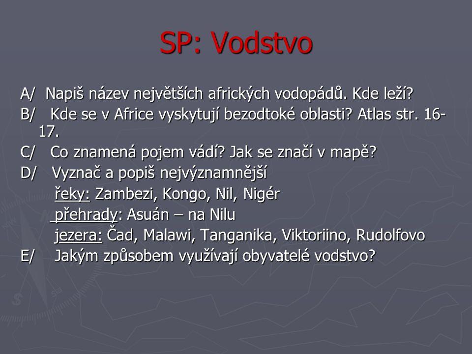SP: Vodstvo A/ Napiš název největších afrických vodopádů. Kde leží? B/ Kde se v Africe vyskytují bezodtoké oblasti? Atlas str. 16- 17. C/ Co znamená p