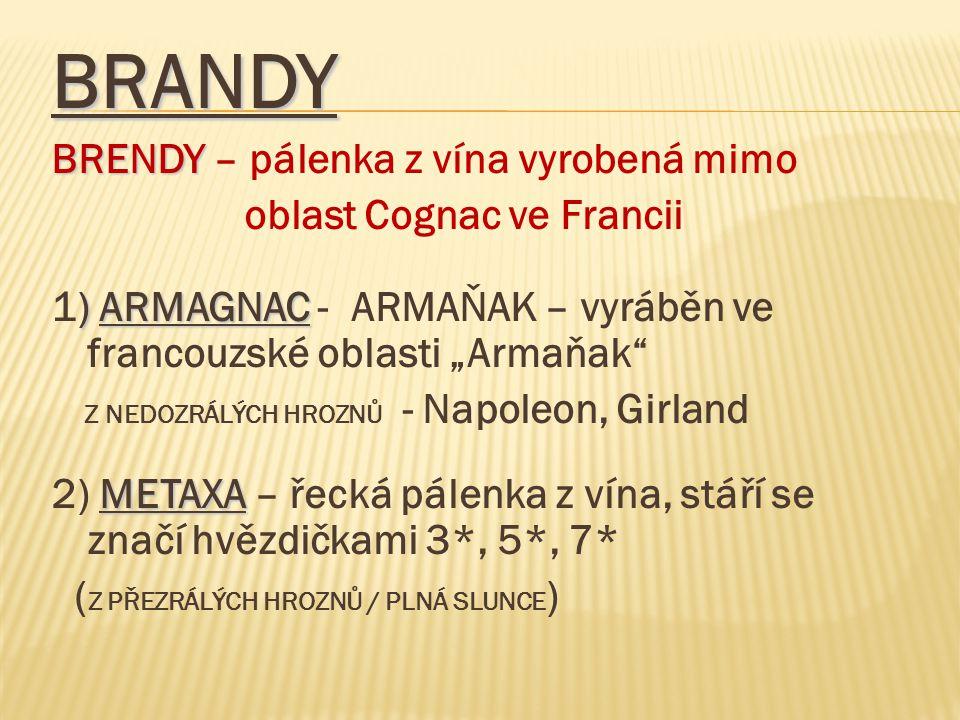 """BRANDY BRENDY BRENDY – pálenka z vína vyrobená mimo oblast Cognac ve Francii ) ARMAGNAC 1) ARMAGNAC - ARMAŇAK – vyráběn ve francouzské oblasti """"Armaňa"""