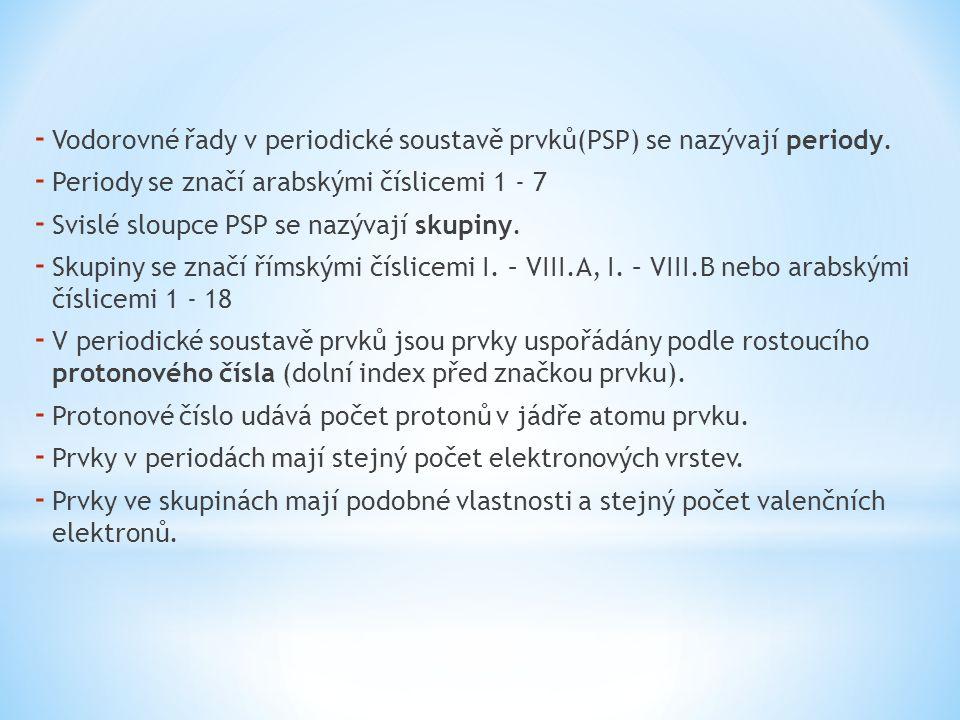 - Vodorovné řady v periodické soustavě prvků(PSP) se nazývají periody. - Periody se značí arabskými číslicemi 1 - 7 - Svislé sloupce PSP se nazývají s