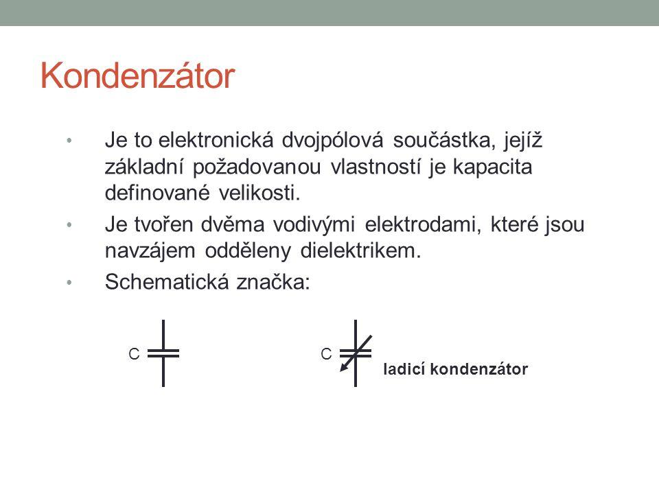 Kondenzátor Je to elektronická dvojpólová součástka, jejíž základní požadovanou vlastností je kapacita definované velikosti. Je tvořen dvěma vodivými