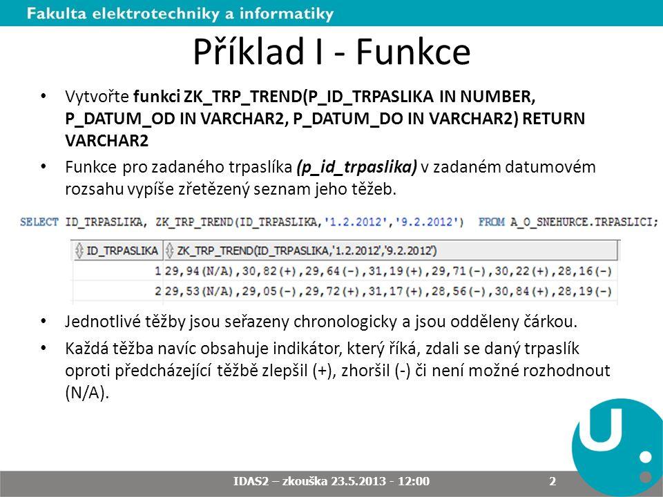 Příklad I - Funkce Vytvořte funkci ZK_TRP_TREND(P_ID_TRPASLIKA IN NUMBER, P_DATUM_OD IN VARCHAR2, P_DATUM_DO IN VARCHAR2) RETURN VARCHAR2 Funkce pro zadaného trpaslíka (p_id_trpaslika) v zadaném datumovém rozsahu vypíše zřetězený seznam jeho těžeb.