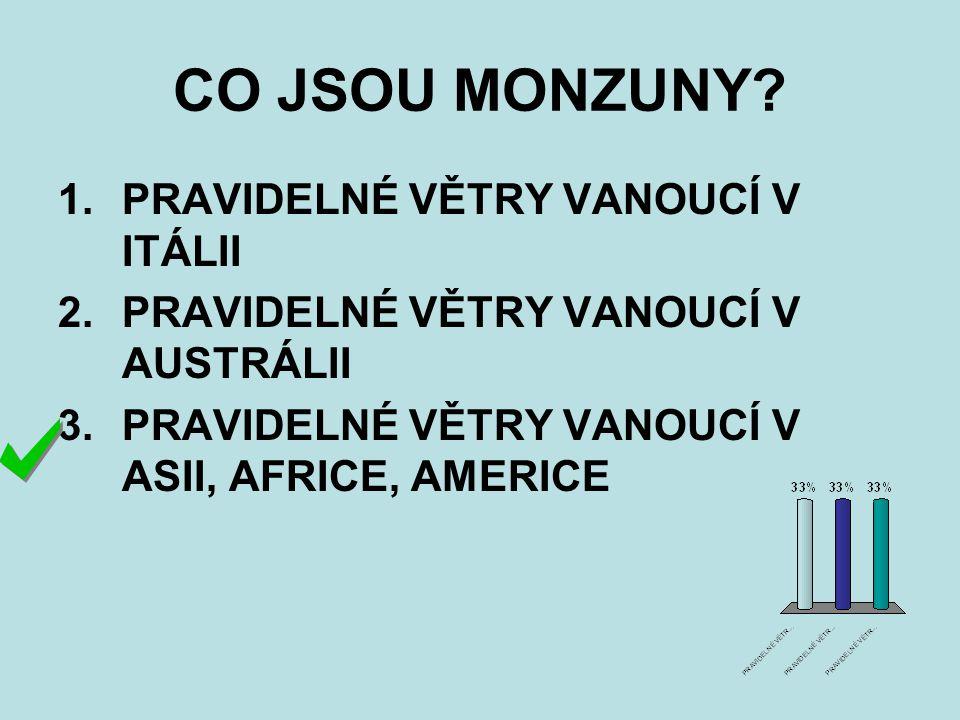CO JSOU MONZUNY? 1.PRAVIDELNÉ VĚTRY VANOUCÍ V ITÁLII 2.PRAVIDELNÉ VĚTRY VANOUCÍ V AUSTRÁLII 3.PRAVIDELNÉ VĚTRY VANOUCÍ V ASII, AFRICE, AMERICE