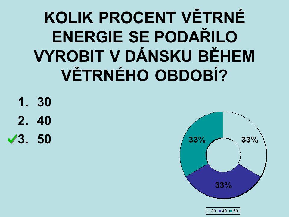 KOLIK PROCENT VĚTRNÉ ENERGIE SE PODAŘILO VYROBIT V DÁNSKU BĚHEM VĚTRNÉHO OBDOBÍ? 1.30 2.40 3.50
