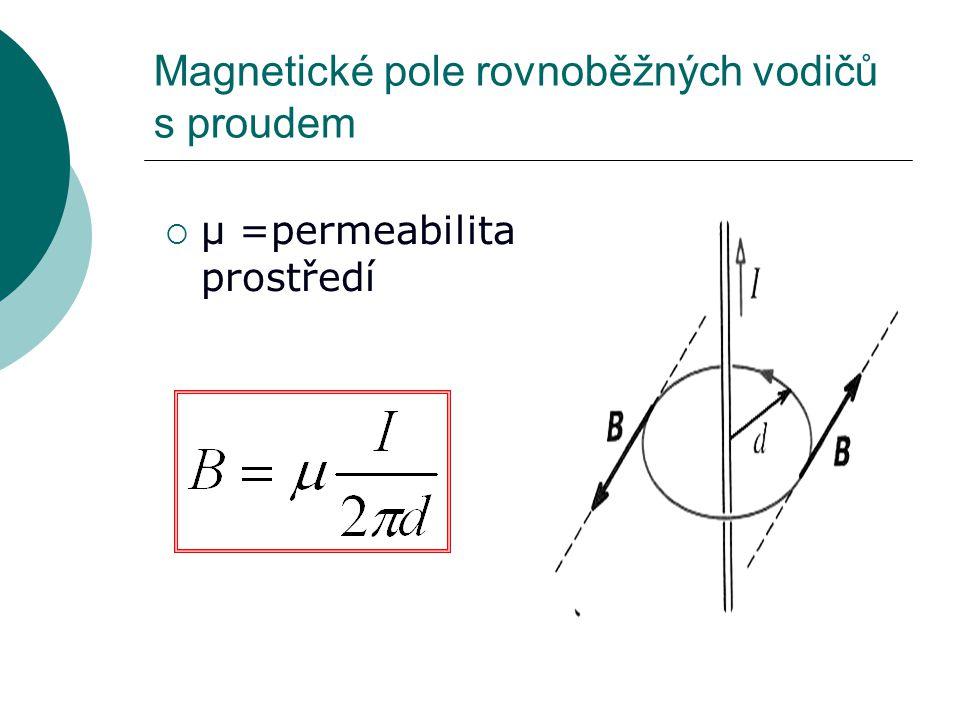 Magnetické pole rovnoběžných vodičů s proudem  μ =permeabilita prostředí