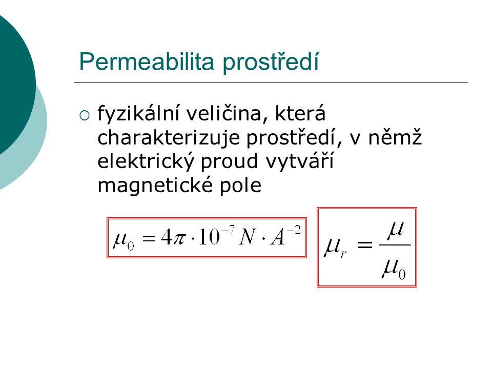 Permeabilita prostředí  fyzikální veličina, která charakterizuje prostředí, v němž elektrický proud vytváří magnetické pole