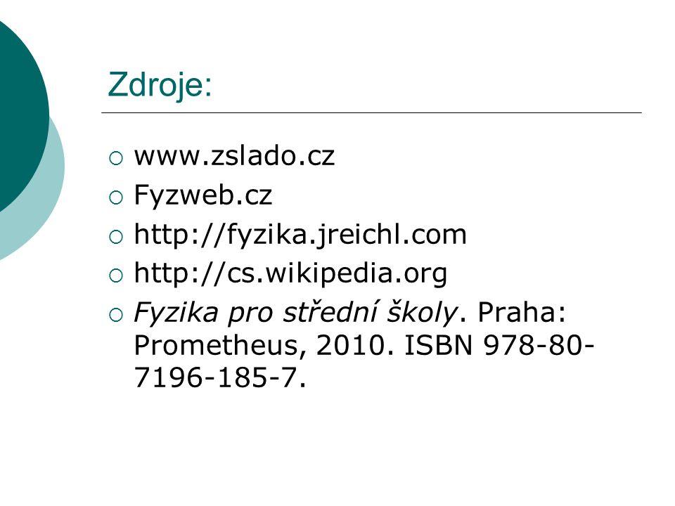 Zdroje:  www.zslado.cz  Fyzweb.cz  http://fyzika.jreichl.com  http://cs.wikipedia.org  Fyzika pro střední školy.