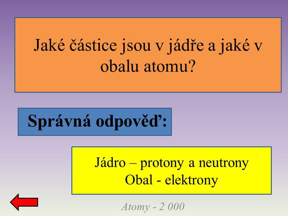 Správná odpověď: Jaké částice jsou v jádře a jaké v obalu atomu.
