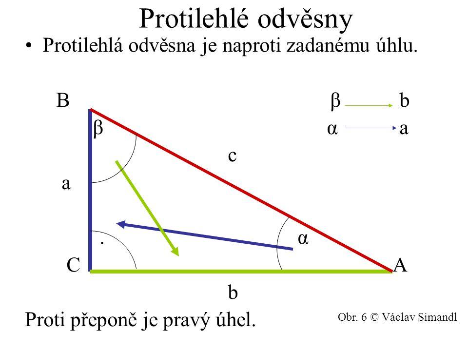 Protilehlé odvěsny Protilehlá odvěsna je naproti zadanému úhlu.