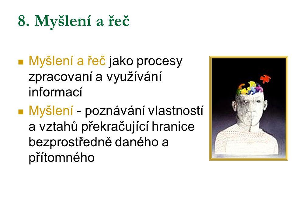 Funkce myšlení Myšlení dle obsahu mentálních reprezentací s nimiž operujeme  propozicionální M (propozice = tvrzení): proud vět, let.