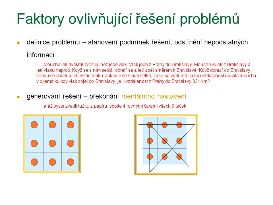 Faktory ovlivňující řešení problémů definice problému – stanovení podmínek řešení, odstínění nepodstatných informací Moucha letí dvakrát rychleji než