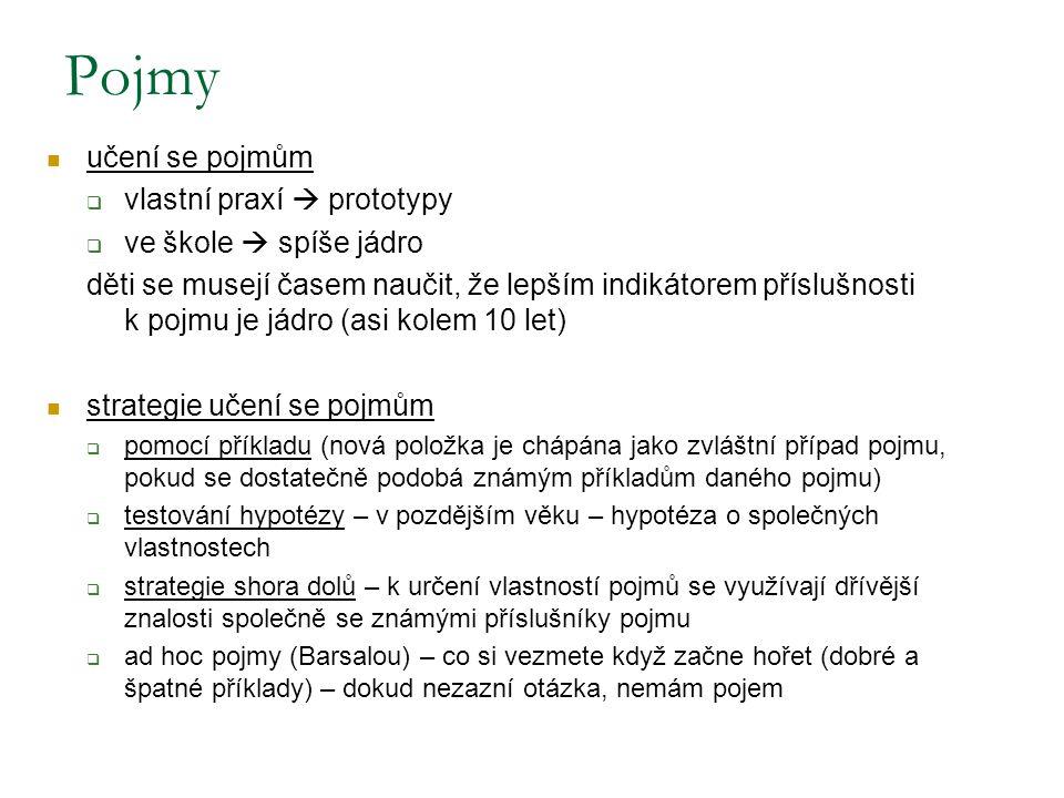 Příklady různé míry prototypičnosti: