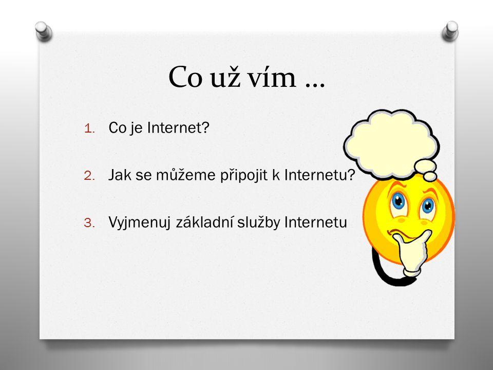 Co už vím … 1. Co je Internet? 2. Jak se můžeme připojit k Internetu? 3. Vyjmenuj základní služby Internetu