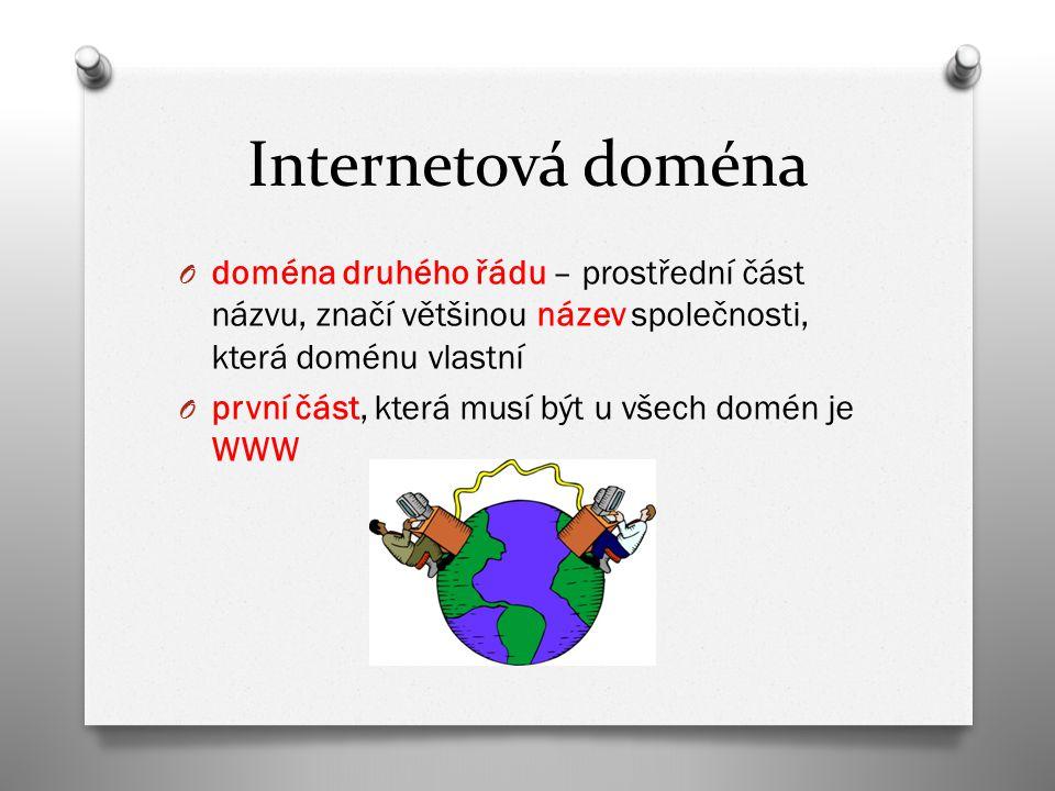 Internetová doména O doména druhého řádu – prostřední část názvu, značí většinou název společnosti, která doménu vlastní O první část, která musí být u všech domén je WWW