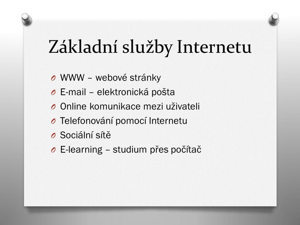 Základní služby Internetu O WWW – webové stránky O E-mail – elektronická pošta O Online komunikace mezi uživateli O Telefonování pomocí Internetu O So