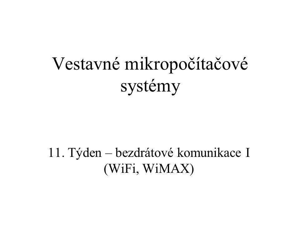 Zabezpečení v 802.11 WEP (Wired Equivalent Privacy) –součást původního standardu 802.11 –proudová šifra RC4 se 40 bitovým klíčem spolu s 24 bitovým inicializačním vektorem 64 bitů po odstranění vládních (USA) restrikcí 104 bitů (celkem 128) –cílem bylo zajistit stejnou úroveň bezpečnosti jako po metalickém vedení, tzn.