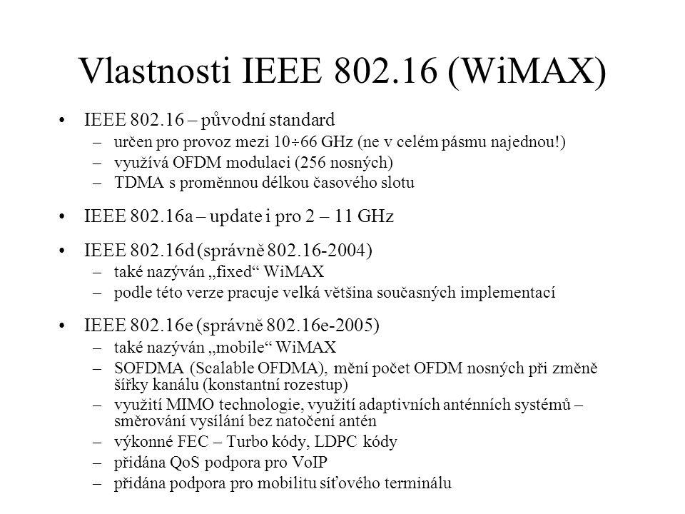 Vlastnosti IEEE 802.16 (WiMAX) IEEE 802.16 – původní standard –určen pro provoz mezi 10  66 GHz (ne v celém pásmu najednou!) –využívá OFDM modulaci (