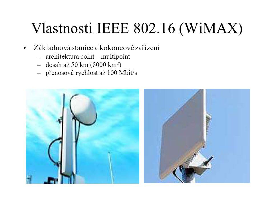 Vlastnosti IEEE 802.16 (WiMAX) Základnová stanice a kokoncové zařízení –architektura point – multipoint –dosah až 50 km (8000 km 2 ) –přenosová rychlo