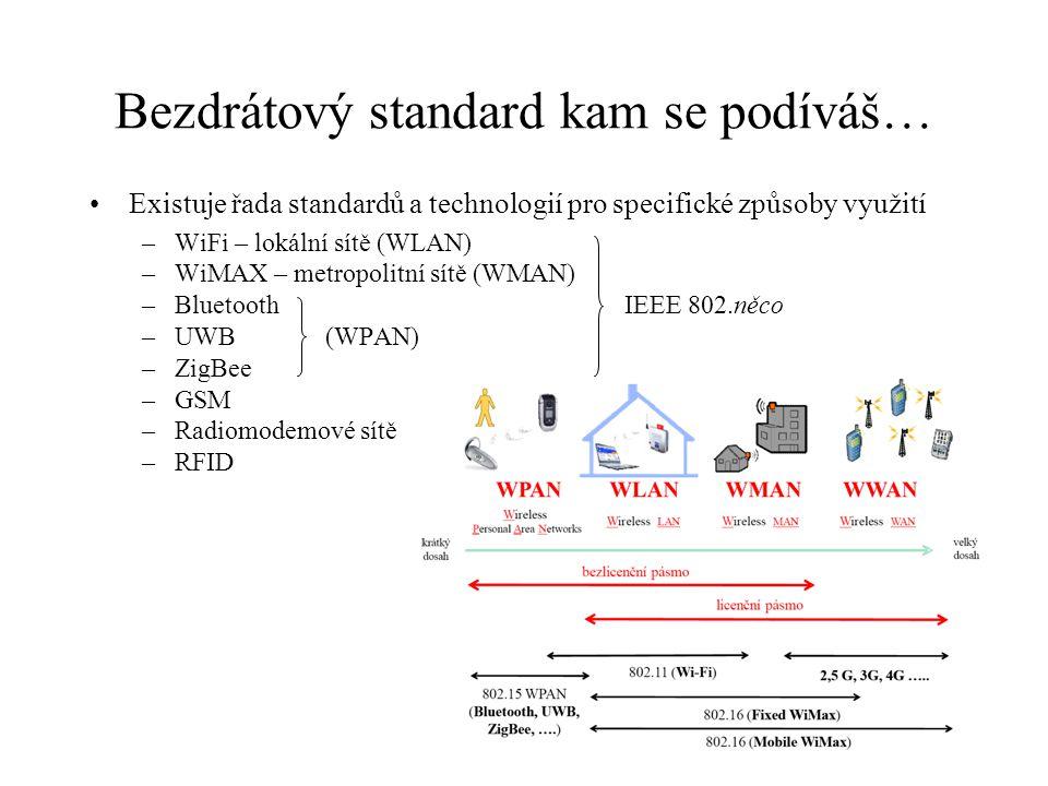 """Vlastnosti IEEE 802.16 (WiMAX) IEEE 802.16 – původní standard –určen pro provoz mezi 10  66 GHz (ne v celém pásmu najednou!) –využívá OFDM modulaci (256 nosných) –TDMA s proměnnou délkou časového slotu IEEE 802.16a – update i pro 2 – 11 GHz IEEE 802.16d (správně 802.16-2004) –také nazýván """"fixed WiMAX –podle této verze pracuje velká většina současných implementací IEEE 802.16e (správně 802.16e-2005) –také nazýván """"mobile WiMAX –SOFDMA (Scalable OFDMA), mění počet OFDM nosných při změně šířky kanálu (konstantní rozestup) –využití MIMO technologie, využití adaptivních anténních systémů – směrování vysílání bez natočení antén –výkonné FEC – Turbo kódy, LDPC kódy –přidána QoS podpora pro VoIP –přidána podpora pro mobilitu síťového terminálu"""
