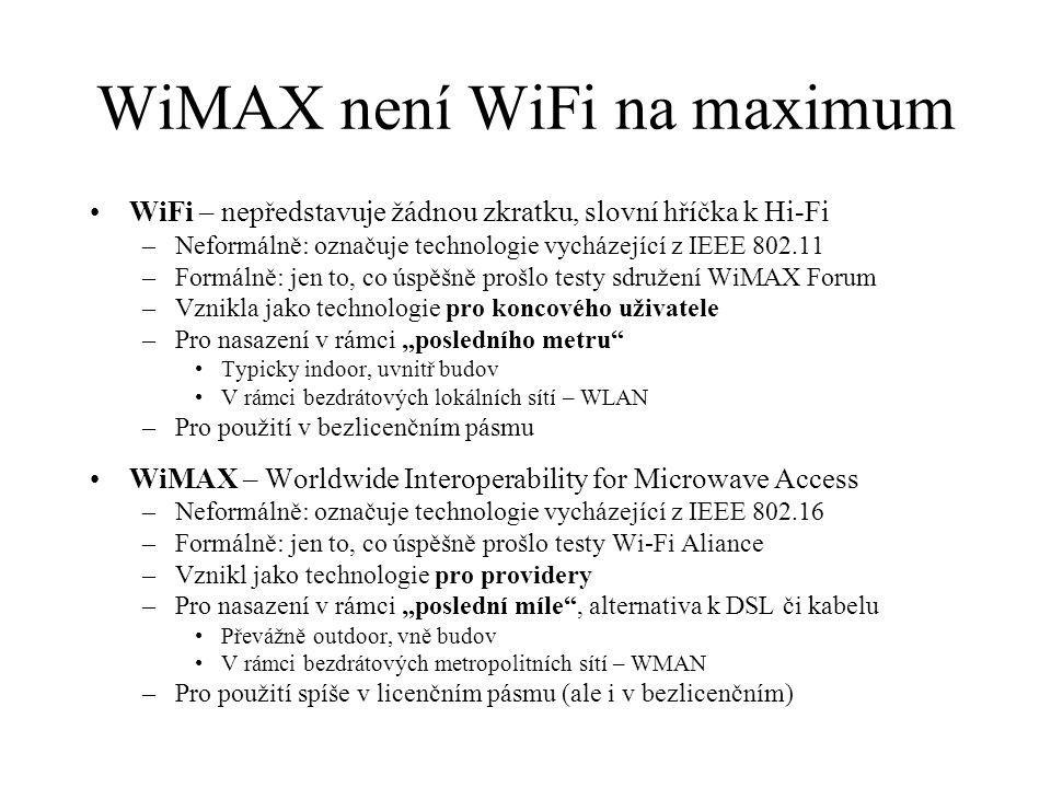 Porovnání WiFi vs WiMAX Kanály o šířce 20 MHz se vzájemně překrývají AP je schopen efektivně obsluhovat několik málo desítek uživatelů Nedeterministické řízení –pouze prioritní přístup –negarantuje maximální zpoždění pro audio a video Deklarovaný dosah do 100 m –komunikace se vzdálenými uživateli brzdí i ty blízké Nepřekrývající se kanály s šířkou pásma od 1,5 do 20 MHz Základnová stanice může obsluhovat tisíce uživatelů Deterministické řízení –QoS –podpora pro audio a video –možnost separátního řízení QoS pro jednotlivé uživatele Deklarovaný dosah do 50 km –nezáleží na rozdílu vzdáleností uživatelů