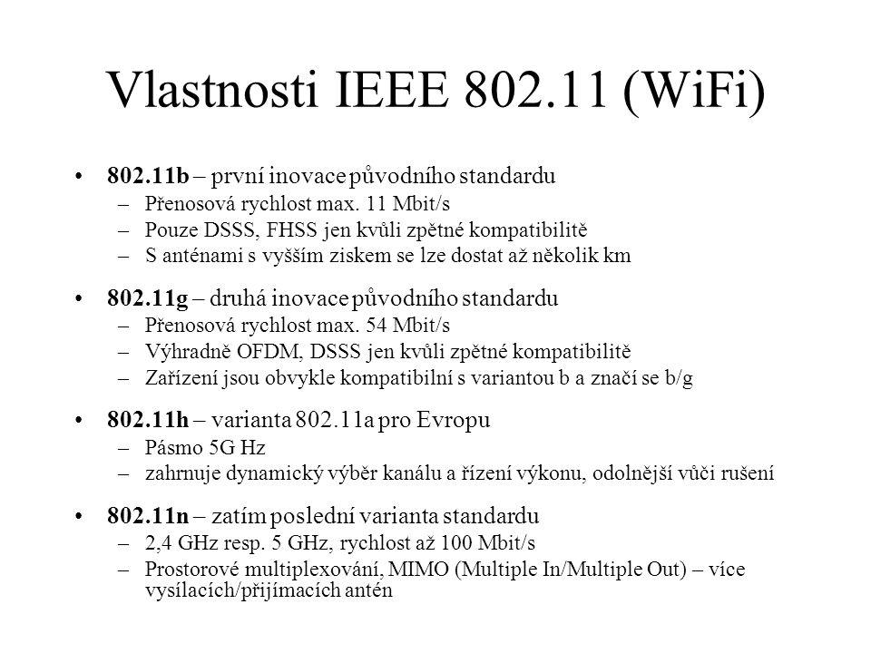 Vlastnosti IEEE 802.11 (WiFi) 802.11b – první inovace původního standardu –Přenosová rychlost max. 11 Mbit/s –Pouze DSSS, FHSS jen kvůli zpětné kompat