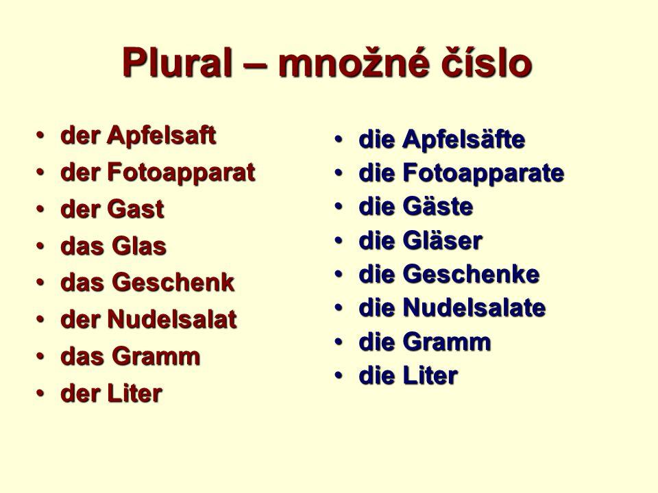Plural – množné číslo der Apfelsaftder Apfelsaft der Fotoapparatder Fotoapparat der Gastder Gast das Glasdas Glas das Geschenkdas Geschenk der Nudelsa