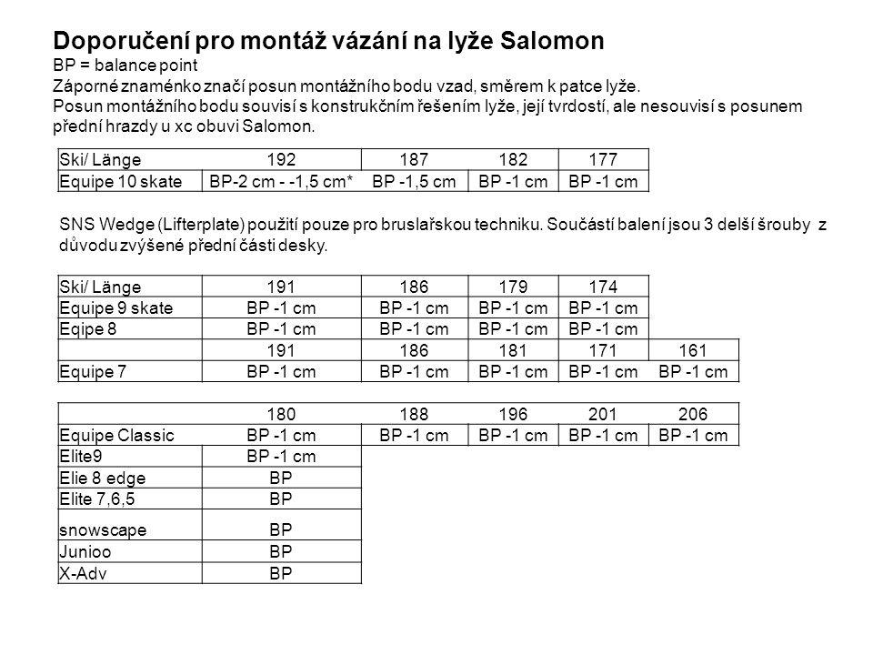 Doporučení pro montáž vázání na lyže Salomon BP = balance point Záporné znaménko značí posun montážního bodu vzad, směrem k patce lyže.