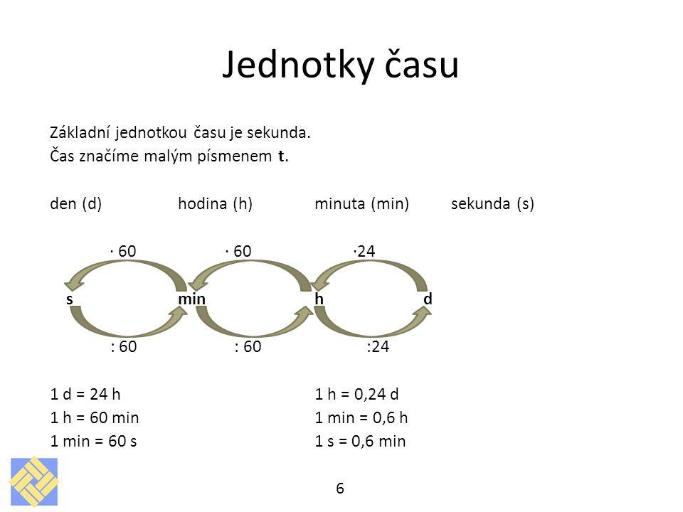 Jednotky času Základní jednotkou času je sekunda. Čas značíme malým písmenem t. den (d)hodina (h)minuta (min)sekunda (s) ∙ 60 ∙ 60 ∙24 s minh d : 60 :