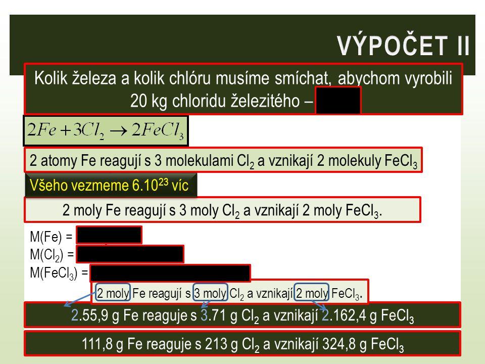 2 atomy Fe reagují s 3 molekulami Cl 2 a vznikají 2 molekuly FeCl 3 2 moly Fe reagují s 3 moly Cl 2 a vznikají 2 moly FeCl 3.