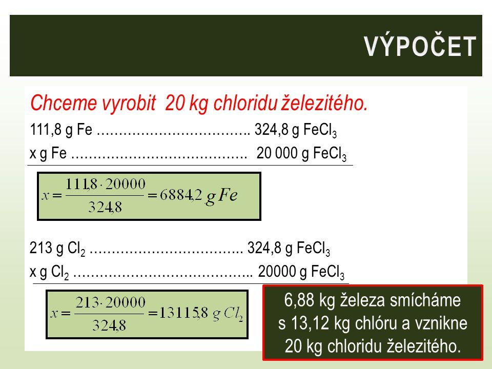 Chceme vyrobit 20 kg chloridu železitého. 111,8 g Fe ……………………………..