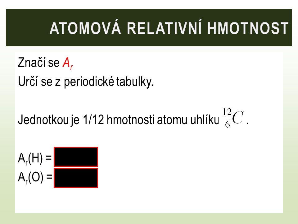 Značí se A r Určí se z periodické tabulky. Jednotkou je 1/12 hmotnosti atomu uhlíku. A r (H) = 1 A r (O) = 16