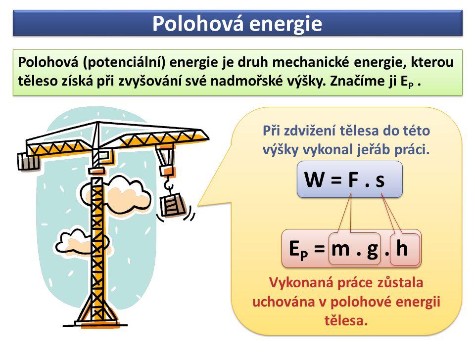 Polohová energie Polohová (potenciální) energie je druh mechanické energie, kterou těleso získá při zvyšování své nadmořské výšky. Značíme ji E P. Pol