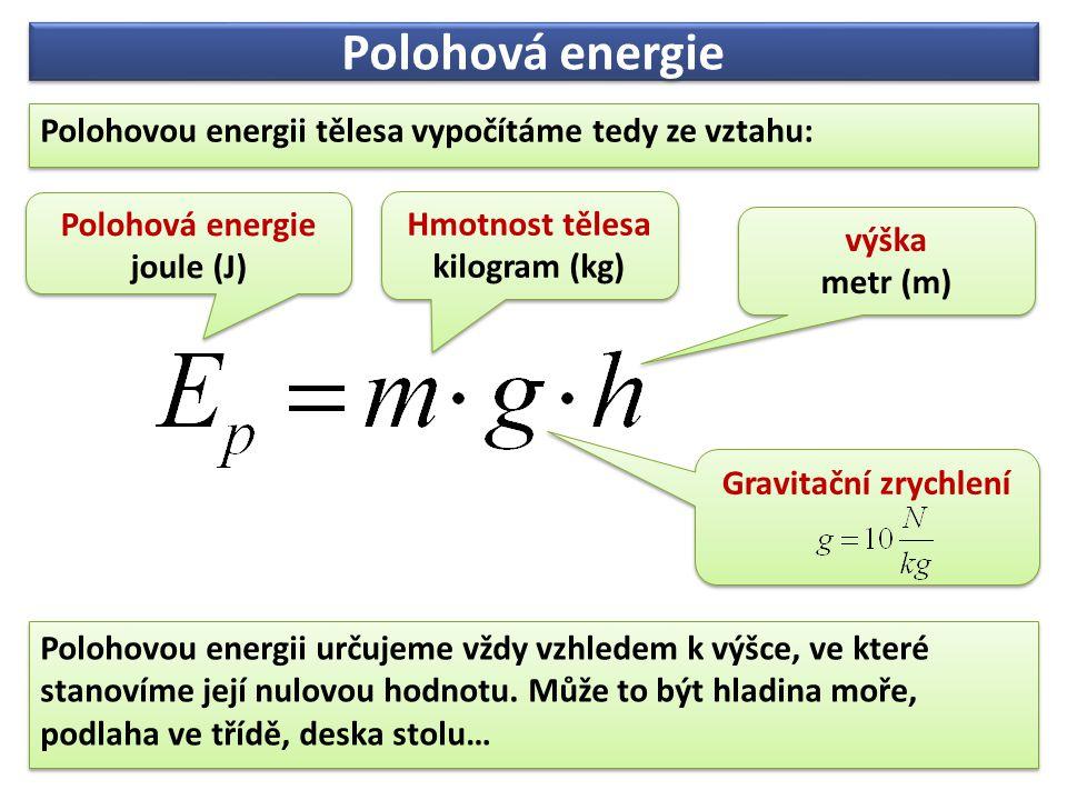 Polohovou energii určujeme vždy vzhledem k výšce, ve které stanovíme její nulovou hodnotu. Může to být hladina moře, podlaha ve třídě, deska stolu… Po