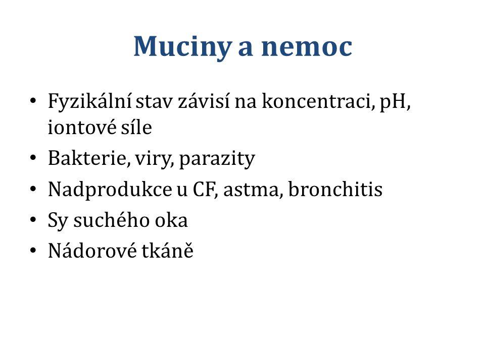 Muciny a nemoc Fyzikální stav závisí na koncentraci, pH, iontové síle Bakterie, viry, parazity Nadprodukce u CF, astma, bronchitis Sy suchého oka Nádo