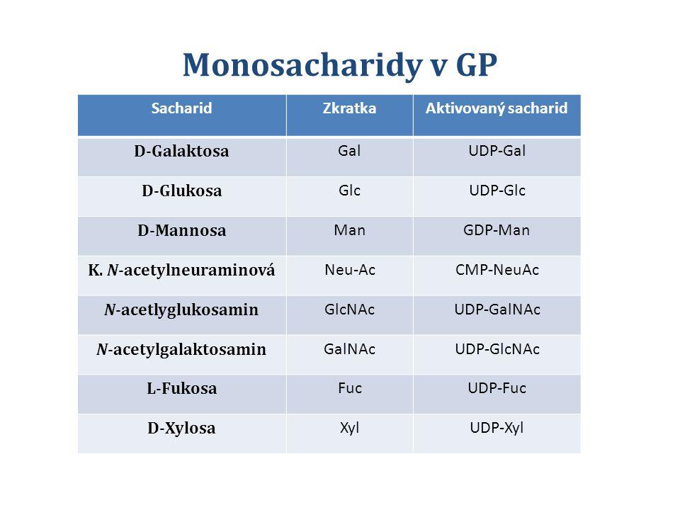 SacharidZkratkaAktivovaný sacharid D-Galaktosa GalUDP-Gal D-Glukosa GlcUDP-Glc D-Mannosa ManGDP-Man K. N-acetylneuraminová Neu-AcCMP-NeuAc N-acetlyglu