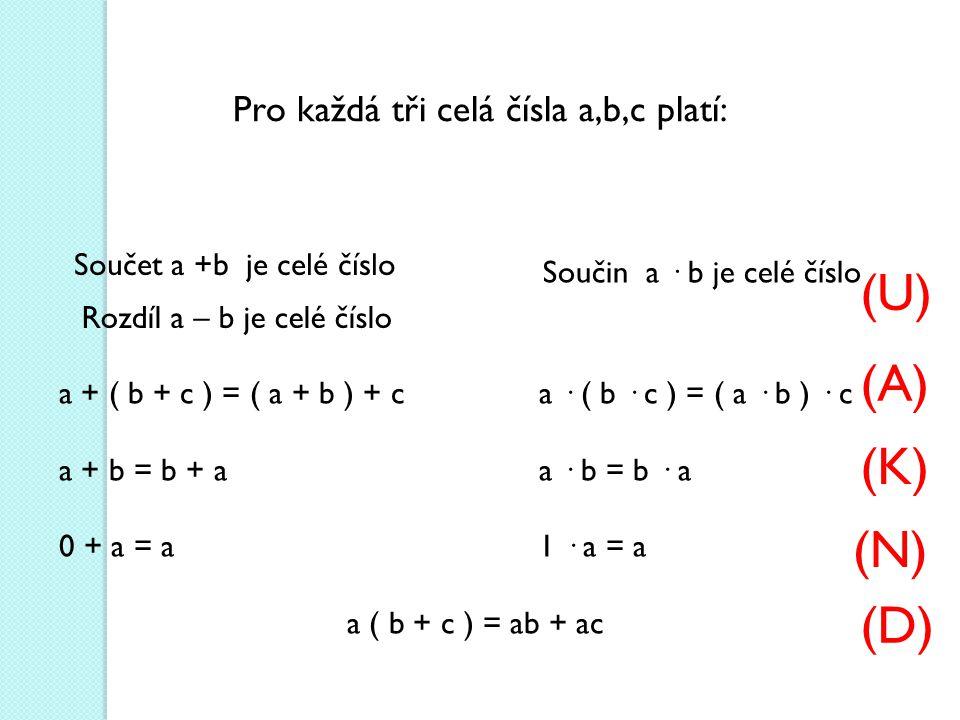 Pro každá tři celá čísla a,b,c platí: Součet a +b je celé číslo Součin a · b je celé číslo a + ( b + c ) = ( a + b ) + ca · ( b · c ) = ( a · b ) · c a + b = b + aa · b = b · a 0 + a = a1 · a = a a ( b + c ) = ab + ac Rozdíl a – b je celé číslo (U) (A) (K) (N) (D)