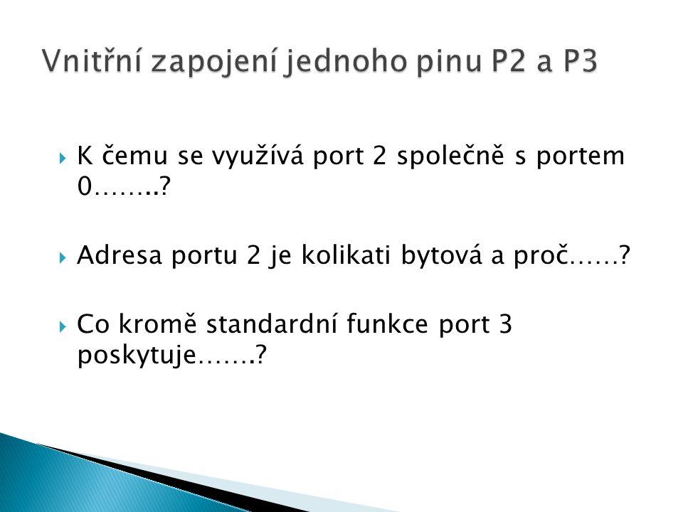  K čemu se využívá port 2 společně s portem 0……...