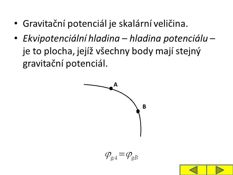 Gravitační potenciál je skalární veličina. Ekvipotenciální hladina – hladina potenciálu – je to plocha, jejíž všechny body mají stejný gravitační pote