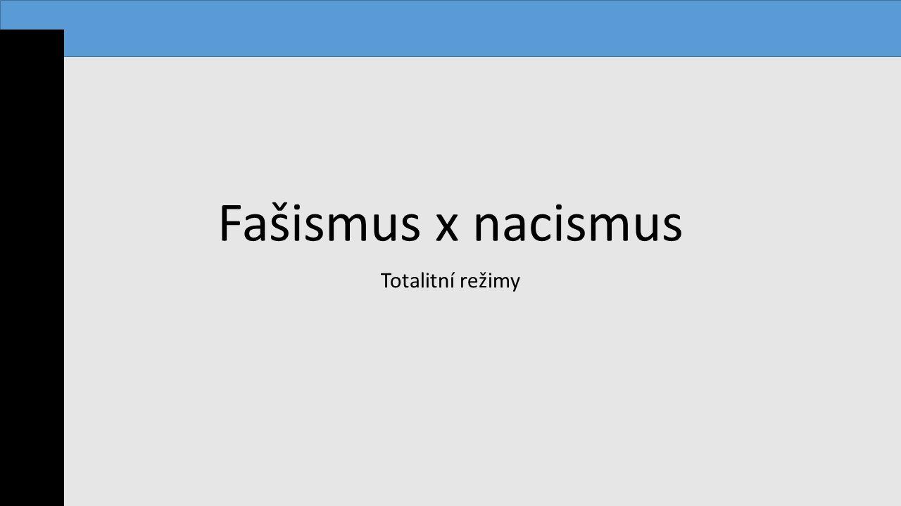 Fašismus x nacismus Totalitní režimy