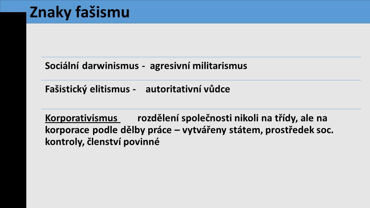 Sociální darwinismus - agresivní militarismus Fašistický elitismus - autoritativní vůdce Korporativismus rozdělení společnosti nikoli na třídy, ale na
