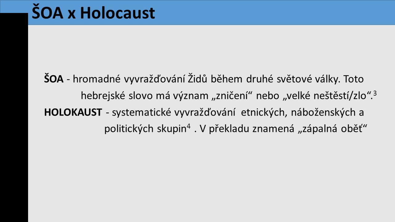 """ŠOA - hromadné vyvražďování Židů během druhé světové války. Toto hebrejské slovo má význam """"zničení"""" nebo """"velké neštěstí/zlo"""". 3 HOLOKAUST - systemat"""