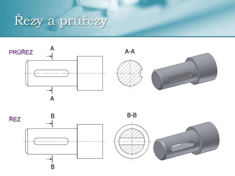 Označování řezů a průřezů  myšlená rovina řezu se označuje tenkou čerchovanou čarou, pouze krajní čárky tlustou čarou  směr pohledu se značí šipkami  skládá se z vynášecí čáry, šipky označující směr řezu a písmene velké abecedy označující řez