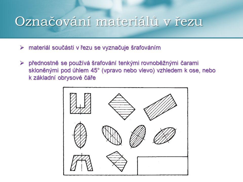 Označování materiálů v řezu  materiál součásti v řezu se vyznačuje šrafováním  přednostně se používá šrafování tenkými rovnoběžnými čarami skloněným