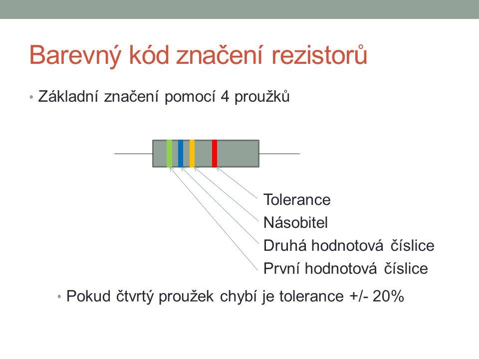 Barevný kód značení rezistorů Barva1.a 2.proužek číslice 3.
