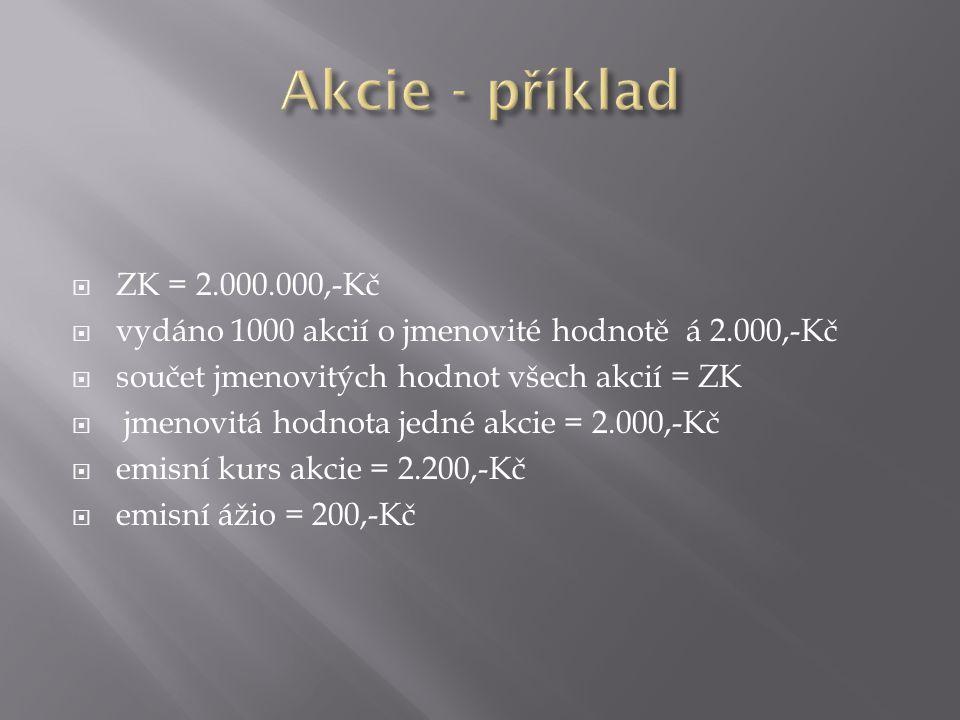  ZK = 2.000.000,-Kč  vydáno 1000 akcií o jmenovité hodnotě á 2.000,-Kč  součet jmenovitých hodnot všech akcií = ZK  jmenovitá hodnota jedné akcie