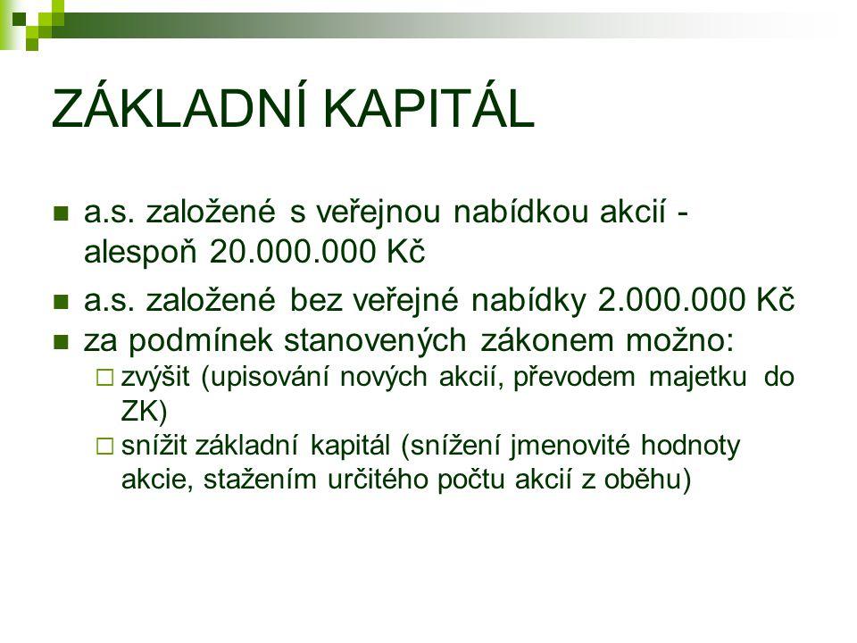 ZÁKLADNÍ KAPITÁL a.s. založené s veřejnou nabídkou akcií - alespoň 20.000.000 Kč a.s. založené bez veřejné nabídky 2.000.000 Kč za podmínek stanovenýc